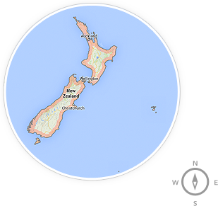 A map of New Zealand