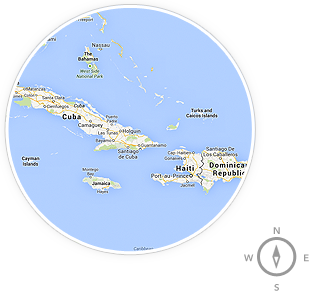 A map of Caribbean